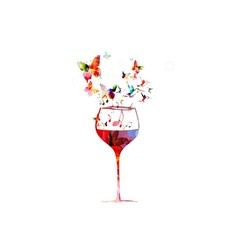 Colorful wine glass