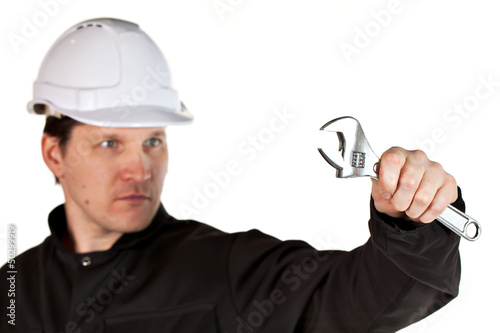 Handyman wearing uniform and hardhat