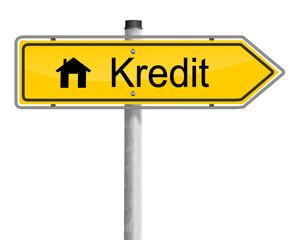 Schild Haus Kredit
