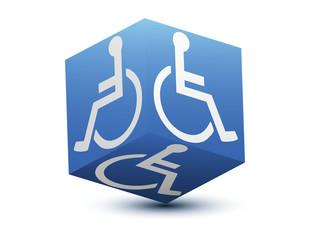 cube bleu handicapé