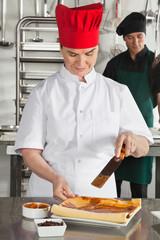 Chef Preparing Chocolate Roll