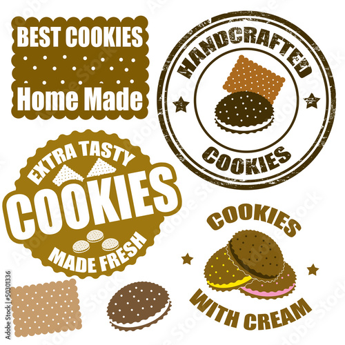 Set of cookies stamps and labels