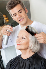 Hairdresser Setting Up Client's Hair
