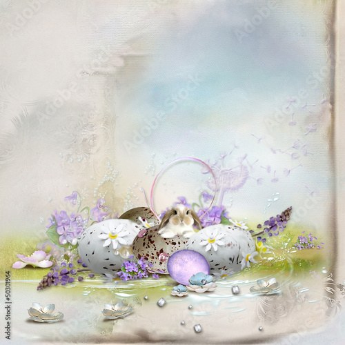 Easter postcard-beautiful composition with eggs, rabbit