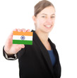 business woman holding a card with the Indian flag