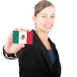 business woman holding a card with the Mexican flag
