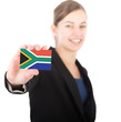 business woman holding a card with the South African flag