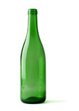 empty bottle of wine isolated on a white background, clipping