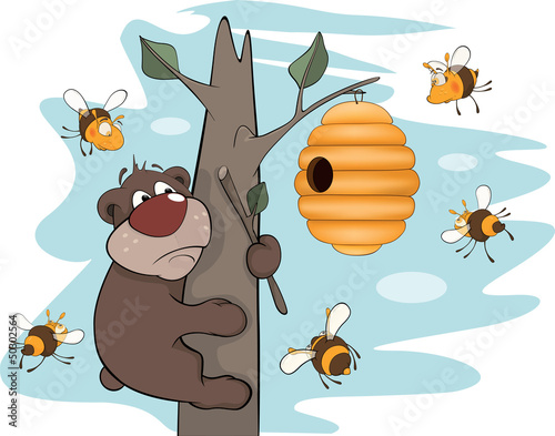 Bear cub and bees. Cartoon