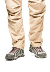 Hiker's legs in move at white background