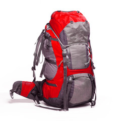 Tourist backpack on white background