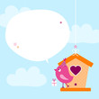 Pink Bird Birdhouse Gift Speech Bubble Sky