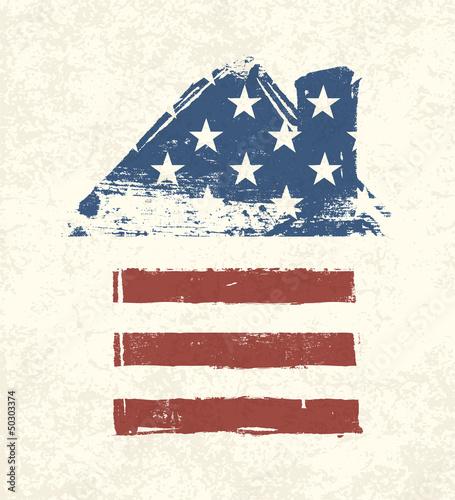 House shaped american flag. Vector, EPS10