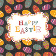 Easter eggs seamless pattern on wooden planks. Vector, EPS10