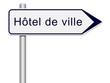 Panneau direction hôtel de ville