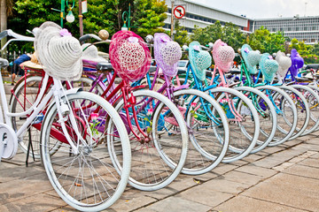 Indonesian bicycles for rent in Jakarta, Indonesia.