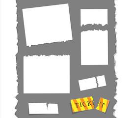 Papier, verschiedene Abrisskanten/ weiss