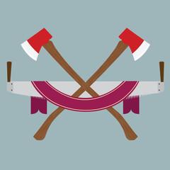 Illustration of lumberjack accessories logo