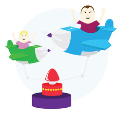 Illustration of airplane carousel with kids
