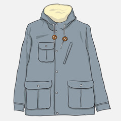 Illustration of men's parka