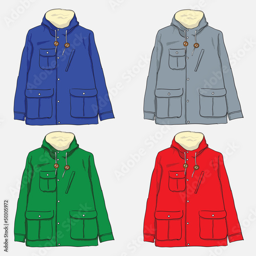 Illustration of 4 men's jackets