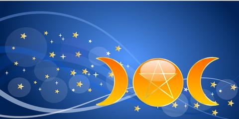 Banner blu con le fasi pagane della luna