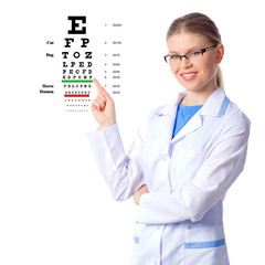 Optician, optometrist woman doctor, isolated on white