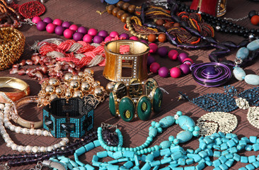Jewelry necklaces and vintage bracelets for sale at flea market