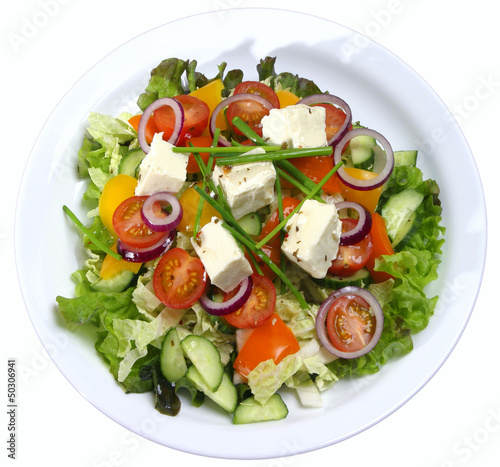 Salad with feta cheese.