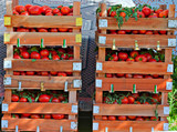 Crates of fresh tomatoes at street market