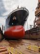 Tanker in dry dock