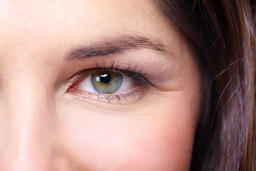 Beautiful young woman eye portrait.