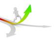 man climb arrow. Isolated 3D image