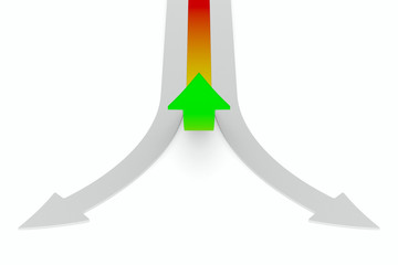 Movement direction to success. Isolated 3D image