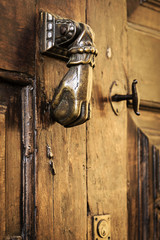 Close-up of ancient door knocker