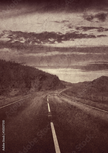old sepia road photo