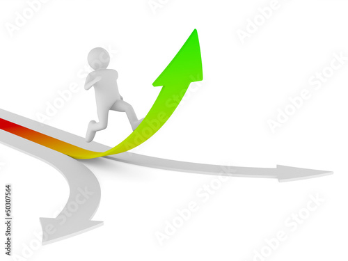 man climb arrow. Isolated 3D image