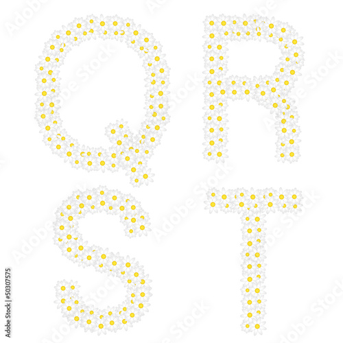 Letters QRST composed from daisy flowers.