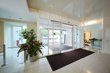 Entrance to administrative building equipped with automatic door