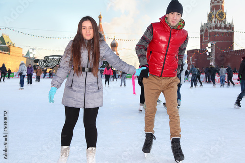 Happy couple at GUM-Skating rink on Red Square in Moscow, Russia