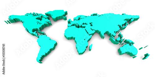 Staande foto Wereldkaart WORLD MAP - 3D