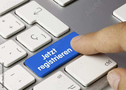 Leinwandbild Motiv Jetzt registrieren Tastatur Finger
