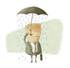 businessman under an umbrella and get wet