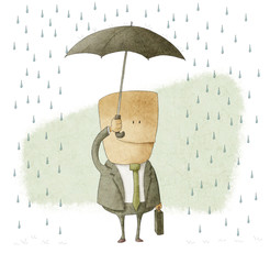 happy businessman under an umbrella