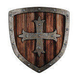 Old crusader wooden shield illustration isolated on white