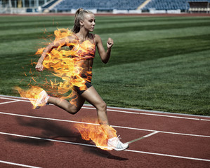 Sporty woman in fire