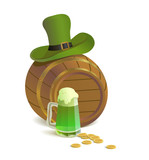 Saint Patrick's Day. Green beer, barrel and gold coins.