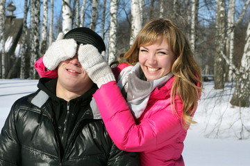 Young loving couple on appointment on the nature, love story