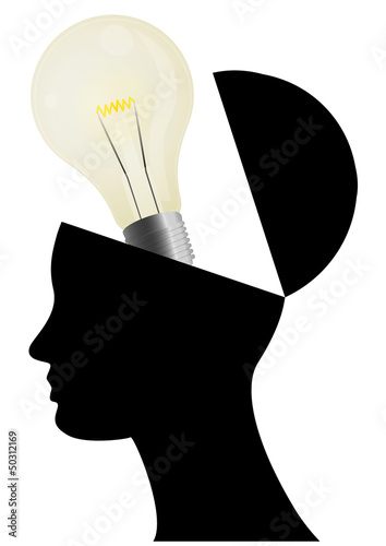 lightbulb open head