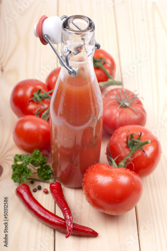 Fresh tomato ketchup with chili